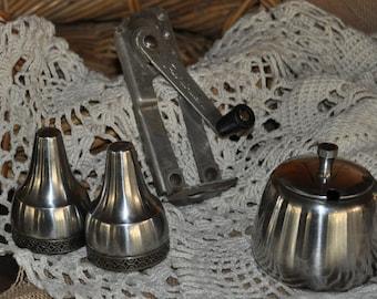Old brushed stainless steel salt npepper shakers,  homewares and VINTAGE can opener
