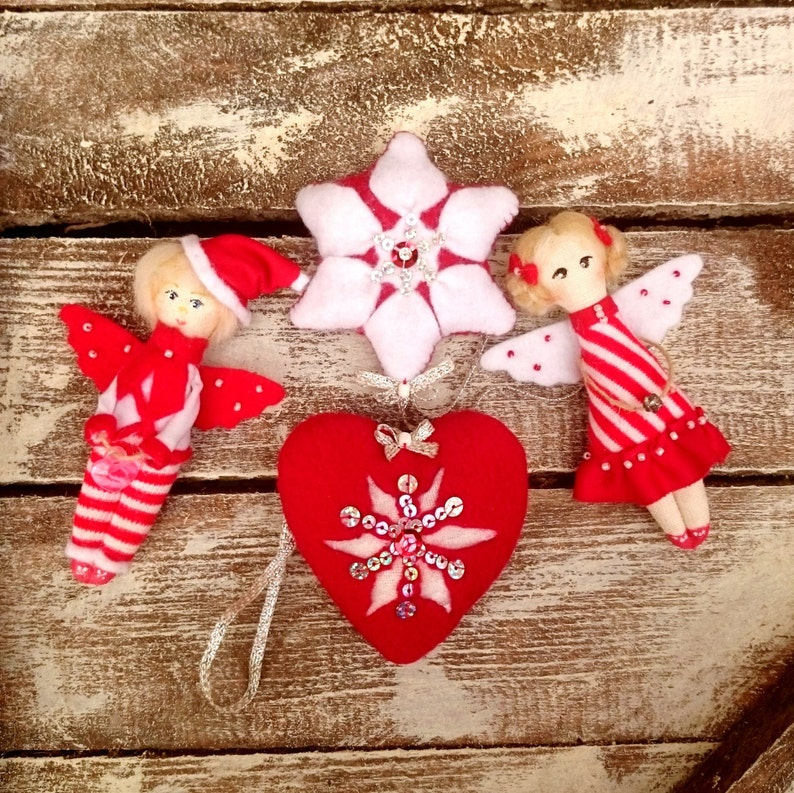Christmas in July Angels Red Fabric Fairy Christmas Ornaments image 0