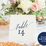 Table Numbers Printable, Table Numbers Wedding, Table Number Template, Navy Blue Wedding Printable, Blue, PDF Instant Download #BPB320_7