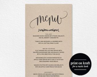 wedding menu template wedding menu printable wedding menu etsy