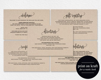 Enclosure Cards Reception Card Directions Gift Registry Accommodations Welcome PDF Instant Download BPB203 1 2