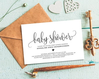 Baby Shower Invitation Girl Rustic Baby Shower Invite Coral Etsy