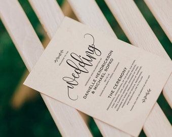 Wedding Program Printable Wedding Program Template Rustic Etsy