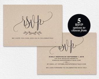 RSVP Cards Rsvp Card Template Rsvp Cards Wedding RSVP Card | Etsy