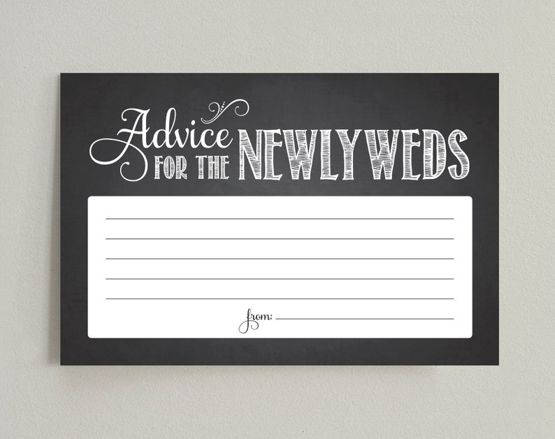 Advice for the Newlyweds / Bride and Groom  4x6 Chalkboard image 0