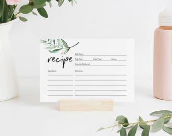 Recipe Card Printable, Recipe Card Bridal Shower, Recipe Card Template, Greenery Recipe Card, 4x6, PDF Instant Download #BPB330_19