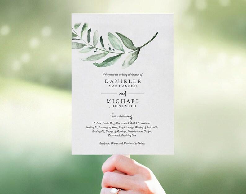 Wedding Program Fan Wedding Program Template Fan Template image 0