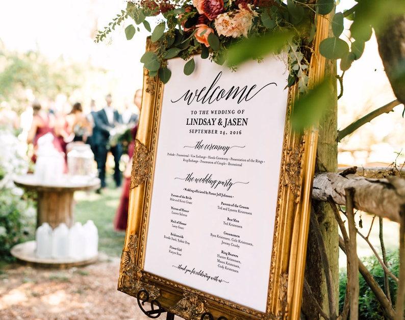 Wedding program Sign Welcome Wedding Sign Program Sign image 0