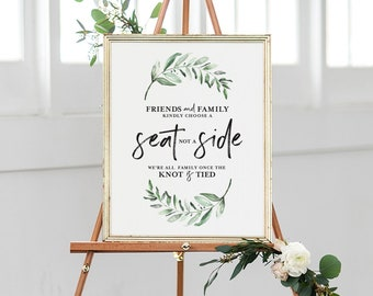 Choose a Seat not a Side Sign, Choose a Seat Sign, Greenery Welcome Wedding Sign, Wedding Sign, PDF Instant Download #BPB330_76
