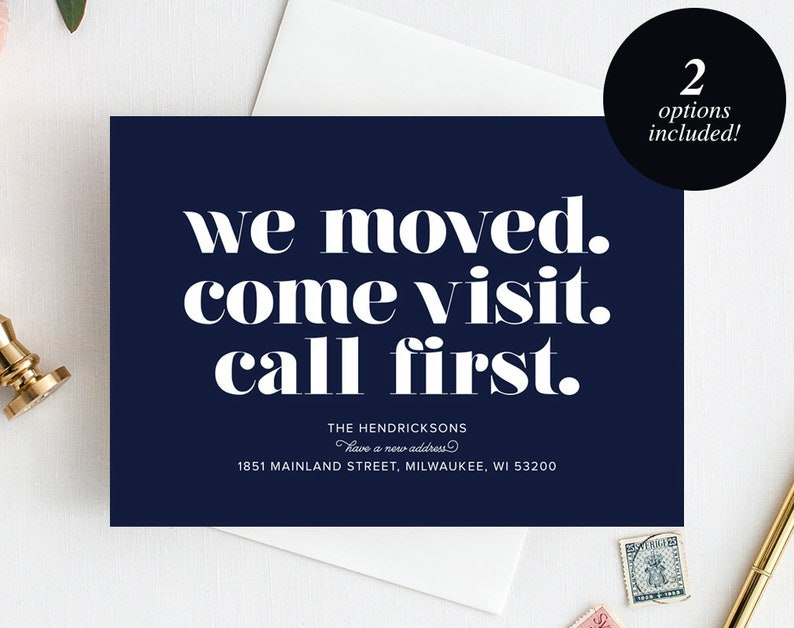 Moving Announcement Printable We Moved. Come Visit. Call image 0