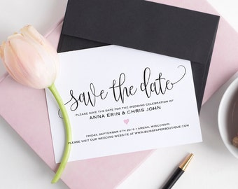 Save the Date Template, Save the Date Cards, Save the Date Printable, Wedding Printable, Wedding Template, PDF Instant Download #BPB322_2B
