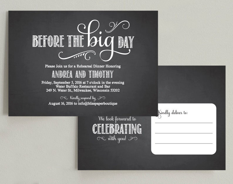 Wedding Rehearsal Dinner Invitation   Printable Postcard image 0