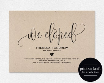We Eloped Wedding Announcement, Elopement Announcement Printable Template, Just Married Template, PDF Instant Download #BPB203_10