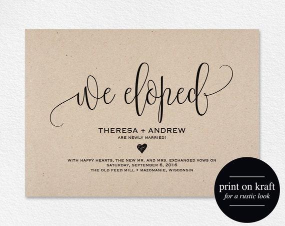 Elopement Wedding Invitations: We Eloped Wedding Announcement Elopement Announcement