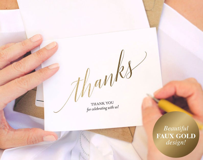 Faux Gold Thank You Cards Thank You Notes Thank You Cards image 0