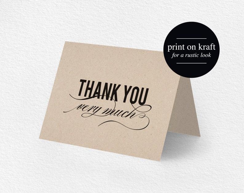 Thank You Card Printable Wedding Thank You Thank You Card image 0