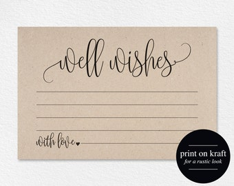 Well Wishes, Wedding Advice Cards, Well Wishes Card, Well Wishes for Baby, Wedding Advice Template, PDF Instant Download #BPB203_18