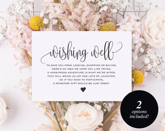 Wedding Wishing Well.Wishing Well Card Wedding Wishing Well Wishing Well Printable Wedding Insert Wish Well Lieu Of Gifts Pdf Instant Download Bpb203 25
