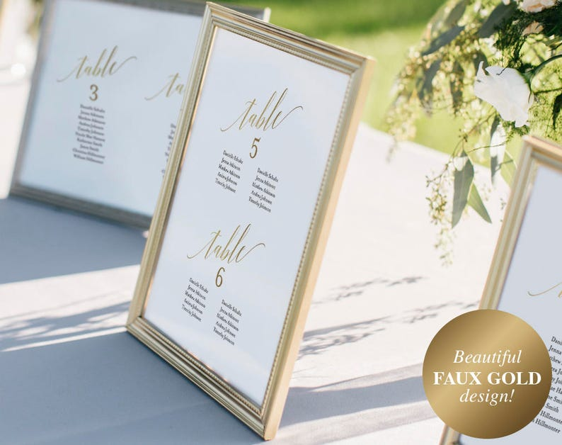 Faux Gold Wedding Seating Chart Seating Chart Template image 0