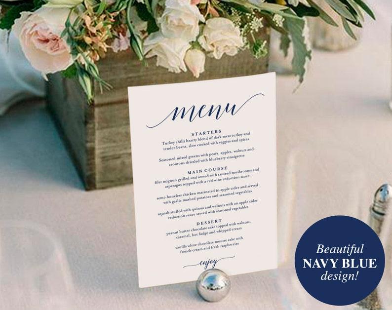 Wedding Menu Template Wedding Menu Printable Wedding Menu image 0