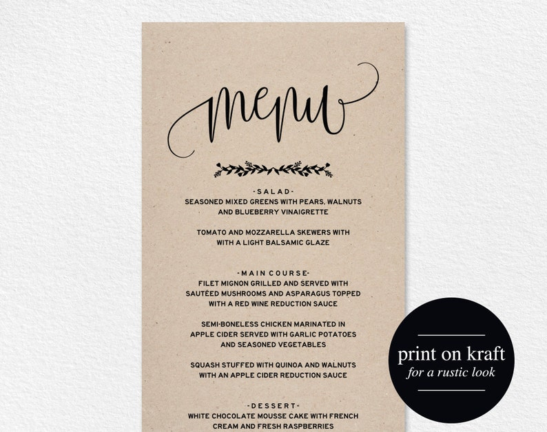 Wedding Menu Template Menu Cards Printable Wedding Menu image 0