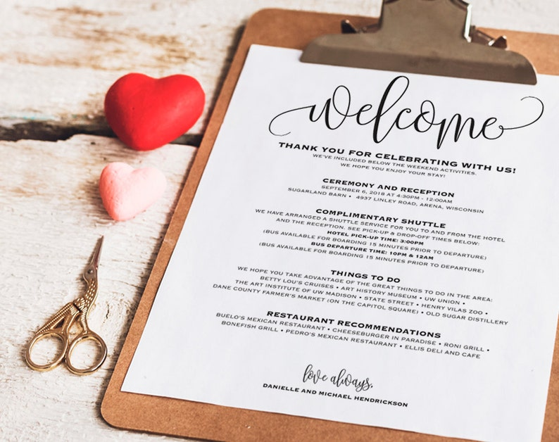 Wedding Itinerary Welcome Bag Printable Itinerary Welcome image 0