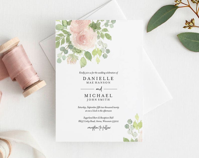 Floral Wedding Invitation Template Wedding Invitation image 0
