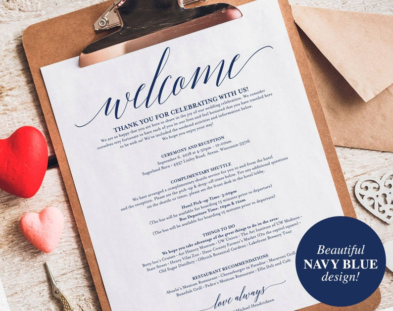 Navy Wedding Itinerary Welcome Bag Printable Itinerary image 0