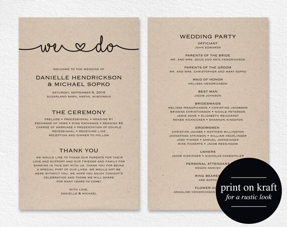 wedding programs instant download printable wedding program etsy