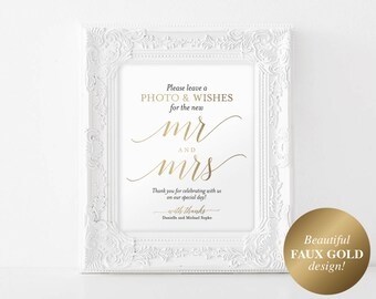 Faux Gold Photo Guest Book Sign, Wedding Guest Book Sign, Guest Book Alternative, Gold Wedding Sign, PDF Instant Download #BPB324_45B