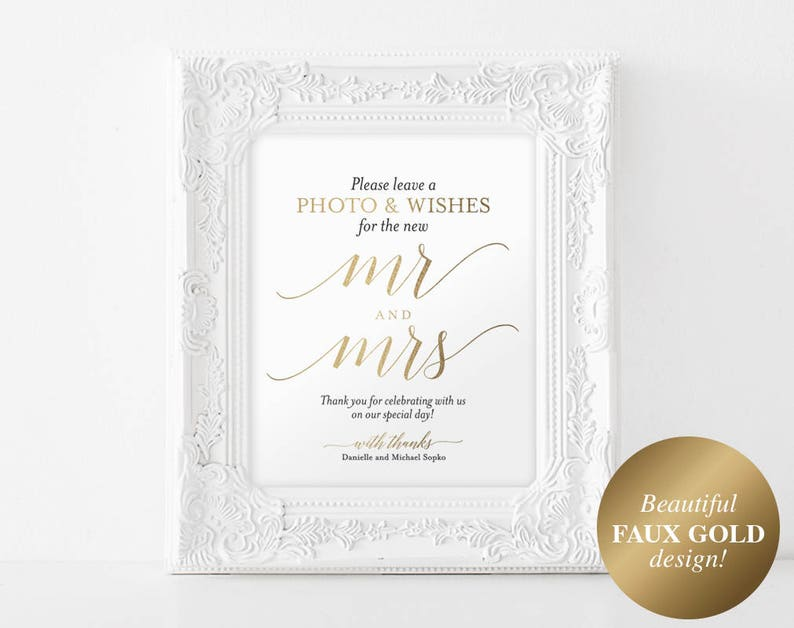 Faux Gold Photo Guest Book Sign Wedding Guest Book Sign image 1