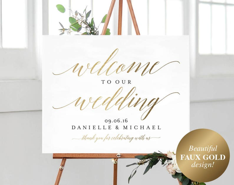 Faux Gold Welcome Wedding Sign Welcome Wedding Printable image 0