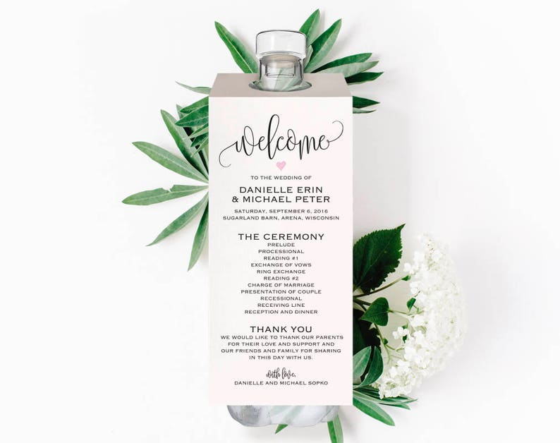 Unique Wedding Programs Water Bottle Wedding Program Wedding image 0