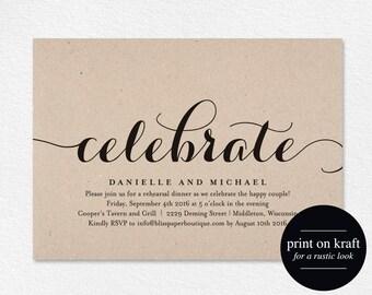 Celebrate Party Invitation, Wedding Rehearsal Invitation, Rehearsal Dinner Invitation, Engagement Invite, PDF Instant Download #BPB133_73