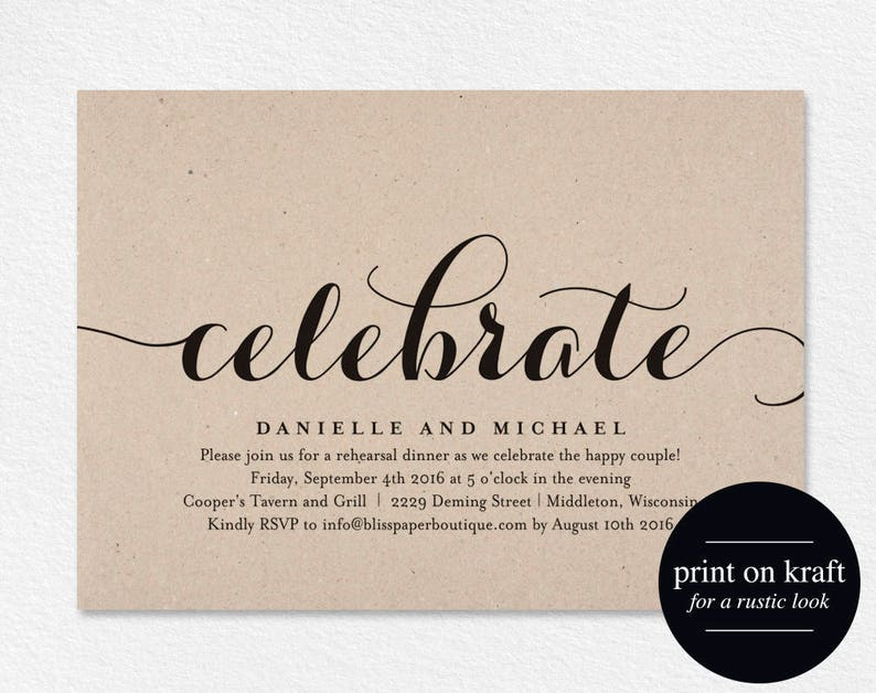 Celebrate Party Invitation Wedding Rehearsal Invitation image 0