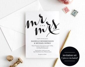 Wedding Invitation Printable Template, Wedding Invitation Editable Template, DIY Printable, Kraft Invite, PDF Instant Download #BPB133_1