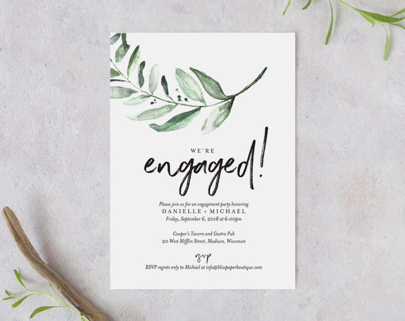 Greenery Engagement Party Invitation Template Invite Printable Bliss Paper Boutique PDF Instant Download BPB330 8