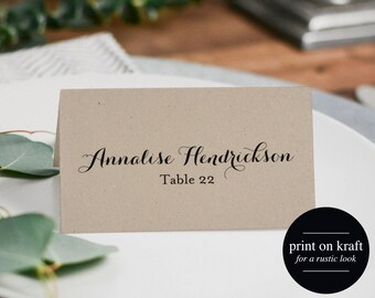 Wedding Place Card Printable Template, Place Cards Template, Editable Place cards, Kraft Wedding, PDF Instant Download #BPB133_6