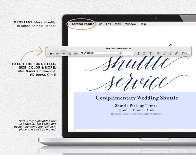 Blue Wedding Navy Wedding Sign Shuttle Service Sign Wedding Template Wedding Printable Wedding Shuttle PDF Instant Download #BPB320/_78
