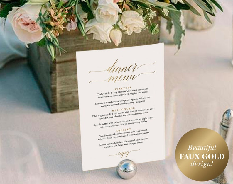 Gold Wedding Menu Wedding Menu Template Wedding Menu Sign image 0