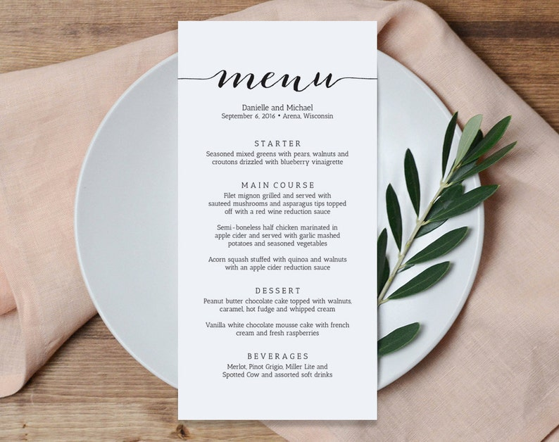 Wedding Menu Printable Template Printable Menu Menu image 1