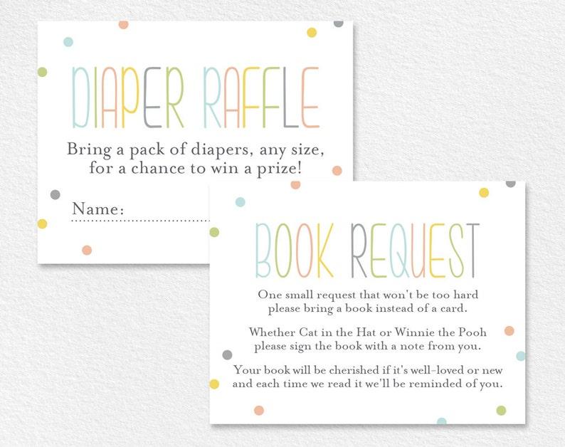 Book Request Card Diaper Raffle Card Book Request Insert image 0
