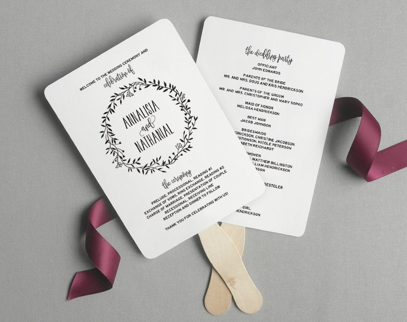 Wedding Program Fan Wedding Program Printable Rustic image 0
