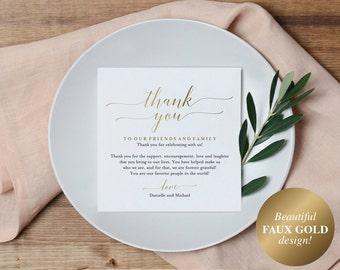 Wedding Thank You Card, Thank You Printable, Wedding Table Thank You, Elegant Wedding, Gold Wedding, PDF Instant Download #BPB324_14
