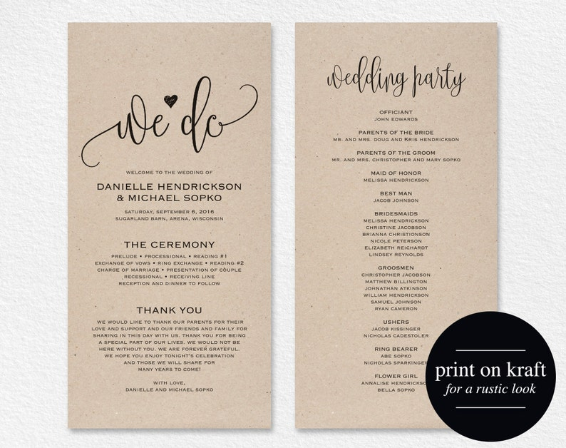 Wedding Program Template Wedding Program Printable We Do image 0