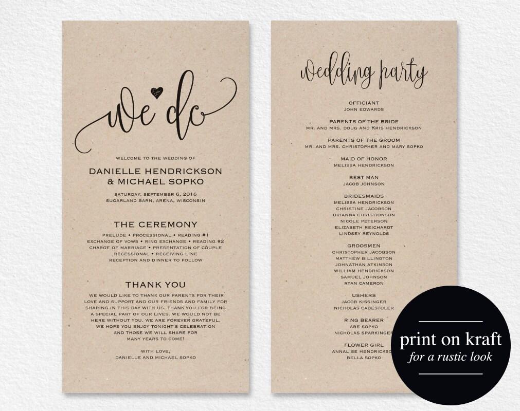 Wedding Programs Templates.Wedding Program Template Wedding Program Printable We Do Ceremony Printable Template Pdf Instant Download Kraft Diy Bpb203 3