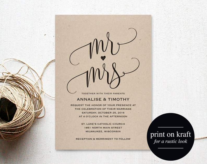 Wedding Invitation Template Mr and Mrs Wedding Invitation image 0