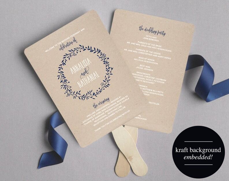 Wedding Program Fan Wedding Program Printable Navy Wedding image 0