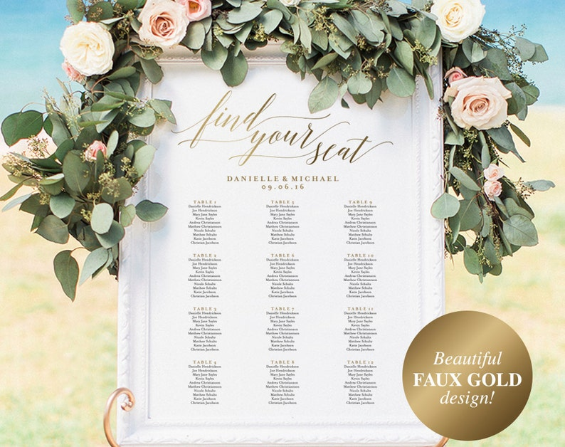 Gold Wedding Seating Chart Seating Chart Printable Seating image 0