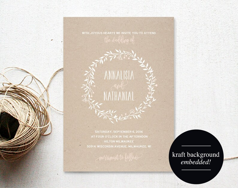 Wreath Wedding Invitation Template Blush Wedding Invitation image 0